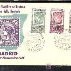 Sellos: 1965-22/11 MADRID, CON SERIE 1689/91 PRIMER DIA, EXPOSICION FILATELICA CENTENARIO DEL SELLO DENTADO,. Lote 7910278