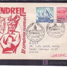 Sellos: 1965-28/03 VENDRELL (TARRAGONA), CIRCULADA CERTIFICADO, RELIGION, XII EXPOSICION FILATELICA,. Lote 140618818