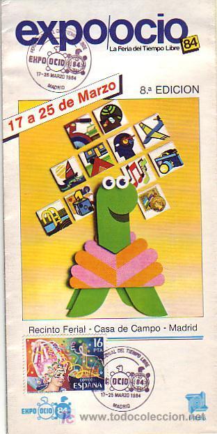 EXPO OCIO-84 LA FERIA DEL TIEMPO LIBRE, MADRID 1984. MATASELLOS EN FOLLETO. BONITO Y RARO ASI. GMPM. (Sellos - Historia Postal - Sello Español - Sobres Primer Día y Matasellos Especiales)