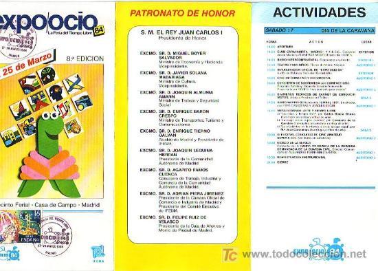 Sellos: EXPO OCIO-84 LA FERIA DEL TIEMPO LIBRE, MADRID 1984. MATASELLOS EN FOLLETO. BONITO Y RARO ASI. GMPM. - Foto 2 - 7920426