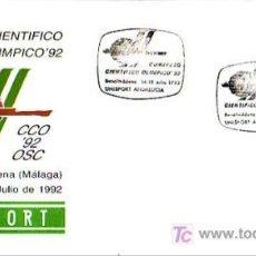 Sellos: UNISPORT CONGRESO CIENTIFICO OLIMPICO'92, BENALMADENA (MALAGA) 1992. MATASELLOS SOBRE ILUSTRADO GMPM. Lote 7920519