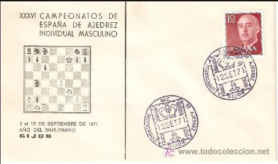 MATASELLO ESPECIAL XXXVI CAMPEONATOS DE ESPAÑA DE AJEDRES INDIVIDUAL MASCULINO , GIJON 1971 (Sellos - Historia Postal - Sello Español - Sobres Primer Día y Matasellos Especiales)
