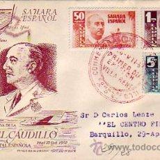 Sellos: SAHARA VISITA DEL GENERAL FRANCO 1951 (EDIFIL 88/90) EN SOBRE PRIMER DIA CIRCULADO ALFIL. RARO ASI.. Lote 24856088