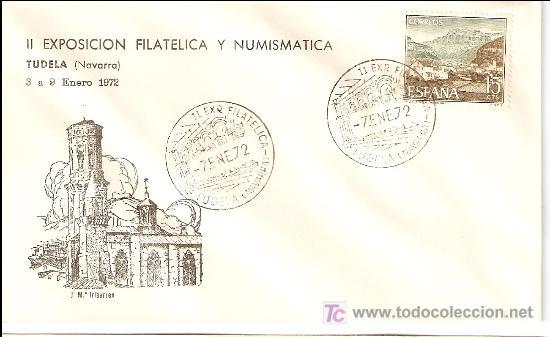 MATASELLO ESPECIAL II EXPOSICION FILATELICA Y NUMISMATICA DE TUDELA 1972 (Sellos - Historia Postal - Sello Español - Sobres Primer Día y Matasellos Especiales)