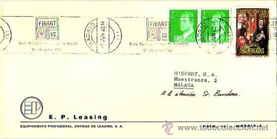 FIBART-82 FERIA IBEROAMERICANA DE ARTESANIA, MADRID 1982. MATASELLOS RODILLO EN CARTA COMERCIAL GMPM (Sellos - Historia Postal - Sello Español - Sobres Primer Día y Matasellos Especiales)