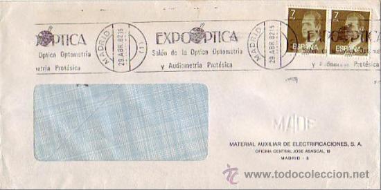 MEDICINA EXPOOPTICA OPTICA OPTOMETRIA Y AUDIOMETRIA, MADRID 1982. MATASELLOS RODILLO EN CARTA. GMPM. (Sellos - Historia Postal - Sello Español - Sobres Primer Día y Matasellos Especiales)