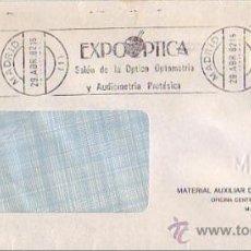 Sellos: MEDICINA EXPOOPTICA OPTICA OPTOMETRIA Y AUDIOMETRIA, MADRID 1982. MATASELLOS RODILLO EN CARTA. GMPM.. Lote 8271661