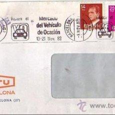 Sellos: VISITEN MERCADO DEL VEHICULO DE OCASION, BARCELONA 1982. MATASELLOS RODILLO EN CARTA URGENTE. GMPM.. Lote 8284889