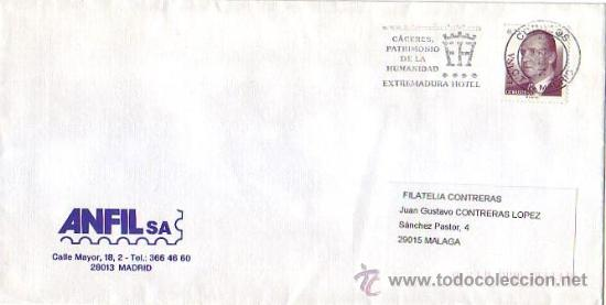 CACERES PATRIMONIO DE LA HUMANIDAD: EXTREMADURA HOTEL, MADRID 2002. MATASELLOS RODILLO EN CARTA GMPM (Sellos - Historia Postal - Sello Español - Sobres Primer Día y Matasellos Especiales)
