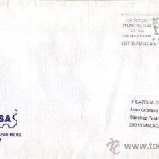 Sellos: CACERES PATRIMONIO DE LA HUMANIDAD: EXTREMADURA HOTEL, MADRID 2002. MATASELLOS RODILLO EN CARTA GMPM. Lote 8325397