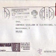 Sellos: AÑO MUNDIAL DE LAS COMUNICACIONES, BARCELONA 1983. MATASELLOS DE RODILLO EN CARTA COMERCIAL. GMPM. Lote 8325403