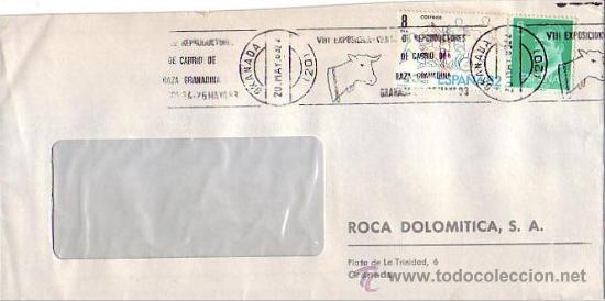 VIII EXPOSICION VENTA REPRODUCTORES DE CABRIO, GRANADA 1983. MATASELLOS RODILLO CARTA COMERCIAL GMPM (Sellos - Historia Postal - Sello Español - Sobres Primer Día y Matasellos Especiales)