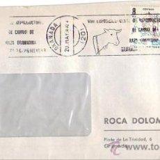Sellos: VIII EXPOSICION VENTA REPRODUCTORES DE CABRIO, GRANADA 1983. MATASELLOS RODILLO CARTA COMERCIAL GMPM. Lote 8336598