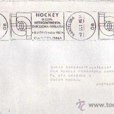 Sellos: HOCKEY III COPA INTERCONTINENTAL BARCELONA-TERRASSA, BARCELONA 1985 MATASELLOS RODILLO EN CARTA GMPM. Lote 8357720