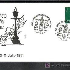 Sellos: 1981-25/06 SEVILLA, AJEDREZ, XLVI CAMPEONATO DE ESPAÑA DE AJEDREZ, SOBRE ALFIL . Lote 9559975