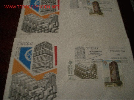 SPD EUROPA 1987 ARTES MODERNAS. ARQUITECTURA 3 SOBRES (Sellos - Historia Postal - Sello Español - Sobres Primer Día y Matasellos Especiales)
