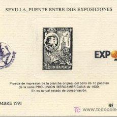 Sellos: SEVILLA, PUENTE ENTRE DOS EXPOSICIONES. NOVIEMBRE 1991. EXPO'92. PRUEBA.. Lote 13695811
