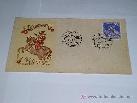 MATASELLOS PRIMER DIA SOBRE 1961 III CENTENARIO DE VELAZQUEZ (Sellos - Historia Postal - Sello Español - Sobres Primer Día y Matasellos Especiales)