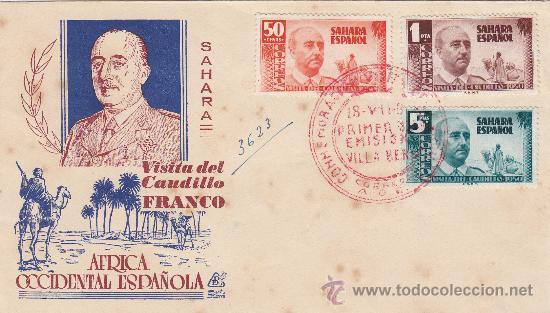 SAHARA VISITA DEL GENERAL FRANCO 1951 (EDIFIL 88/90) EN SOBRE PRIMER DIA DE DP. RARO ASI. MPM. (Sellos - Historia Postal - Sello Español - Sobres Primer Día y Matasellos Especiales)
