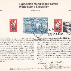 Sellos: COLON Y COLONIZACION DE FLORIDA EN RARA TARJETA BILINGÜE EXPOSICION MUNDIAL DE FILATELIA 1975. GMPM.. Lote 27105451