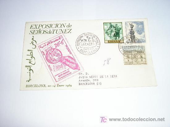 SOBRE PRIMER DIA EXPOSICION DE SELLOS DE TUNEZ 1969 (Sellos - Historia Postal - Sello Español - Sobres Primer Día y Matasellos Especiales)
