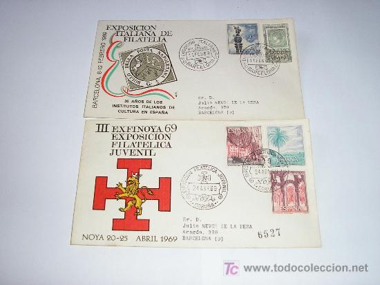 SPD III EXFINOYA 69 EXPO FILA JUVENIL Y EXPOSICION ITALIANA DE FILATELIA - 1969 (Sellos - Historia Postal - Sello Español - Sobres Primer Día y Matasellos Especiales)