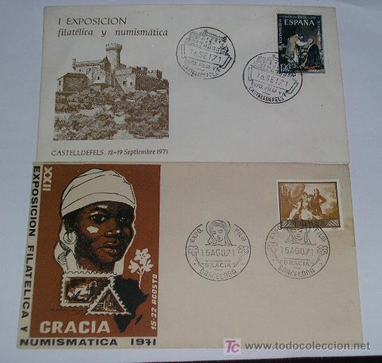 2 SPD I EXPOSICION Y NUMISMATICA CASTELLDEFELS 12-19 SEPTIEMBRE 1971 Y DE GRACIA 1971 (Sellos - Historia Postal - Sello Español - Sobres Primer Día y Matasellos Especiales)