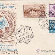 Sellos: SAHARA ESPAÑOL DIA DE LAS NACIONES UNIDAS VI ANIVERSARIO 1951. MATASELLOS SOBRE ILUSTRADO MUY RARO. Lote 22314097