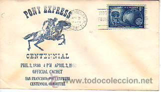 SOBRE DE PRIMER DIA -5CENTENARIO PONY EXPRESS -1960 U.S.A. (Sellos - Historia Postal - Sello Español - Sobres Primer Día y Matasellos Especiales)