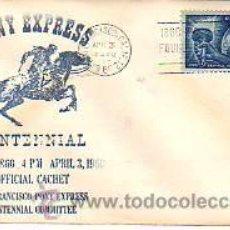 Sellos - SOBRE DE PRIMER DIA -5CENTENARIO PONY EXPRESS -1960 U.S.A. - 13219687