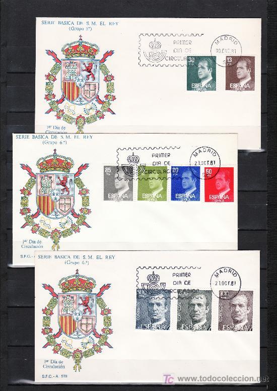 ESPAÑA 2599/607 PRIMER DIA, BASICA, JUAN CARLOS I (Sellos - Historia Postal - Sello Español - Sobres Primer Día y Matasellos Especiales)