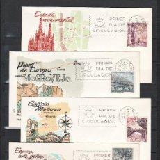 Sellos: ESPAÑA 1643/52 PRIMER DIA ALFIL, TURISMO, BARCELONA, BURGOS, TOLEDO, ZAMORA, SEVILLA, CUDILLERO,. Lote 21033644