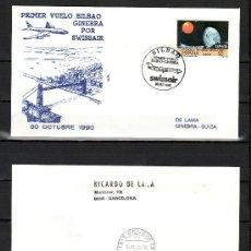 Sellos: 1990 BILBAO 30/10 ALFIL, SWISSAIR, PRIMER VUELO BILBAO GINEBRA, LLEGADA 1215 GENEVE 15, AEROPUERTO. Lote 89638079