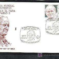Sellos: 1989 SANTIAGO DE COMPOSTELA 19/8 PRIMER DIA 3022 ALFIL, EL PAPA Y LA JUVENTUD JORNADA MUNDIAL. Lote 178733426