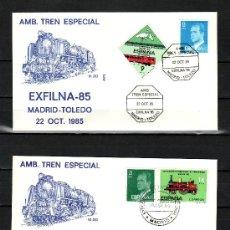 Sellos: 1985 MADRID 18/10, 22/10 ALFIL, EXFILNA 85, EXP. FIL. NAC Y FF.CC. AMB TREN ESPECIAL MADRID - TOLEDO. Lote 168055889