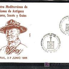 Sellos: 1986 EL ESCORIAL 2-7/6 ALFIL, IV ENCUENTRO MEDITERRANEO ASOC. ANTIGUOS EXPLORADORES SCOUTS Y GUIA. Lote 35776424