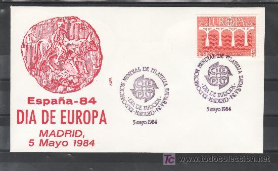 1984 MADRID 5/5 ALFIL, ESPAÑA 84, EXP. MUNDIAL DE FILATELIA, DIA DE EUROPA (Sellos - Historia Postal - Sello Español - Sobres Primer Día y Matasellos Especiales)