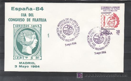 1984 MADRID 3/5 ALFIL, ESPAÑA 84, EXP. MUNDIAL DE FILATELIA, DIA DEL CONGRESO DE FILATELIA (Sellos - Historia Postal - Sello Español - Sobres Primer Día y Matasellos Especiales)
