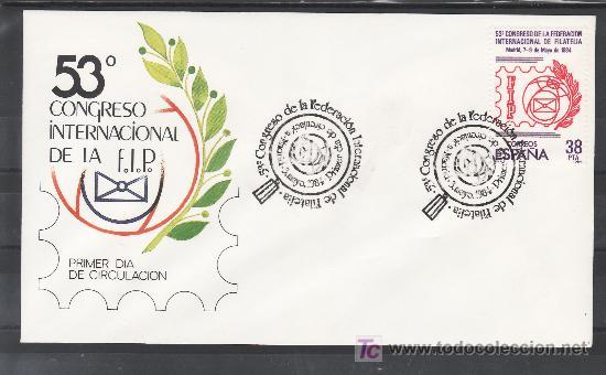 1984 MADRID 3/5 PRIMER DIA 2755 OFICIAL, ESPAÑA 84, 53º CONGRESO FEDERACION INTERNACIONAL FILATELIA (Sellos - Historia Postal - Sello Español - Sobres Primer Día y Matasellos Especiales)