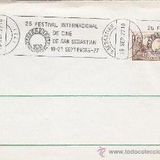 Sellos: CINE 25 FESTIVAL INTERNACIONAL SAN SEBASTIAN (GUIPUZCOA) 1977 MATASELLOS RODILLO SOBRE. EL CID. GMPM. Lote 15909647