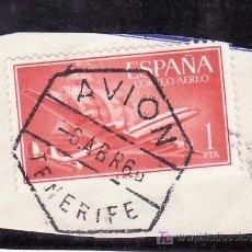 Sellos: .MATASELLO FECHADOR EXAGONAL AVION TENERIFE, ESPAÑA 1172 FRAGMENTO. Lote 16284084