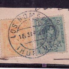 Sellos: .MATASELLO FECHADOR TIPO 1882 LOS ROMEROS (HUELVA), RARO, ESPAÑA 268 Y 271 MEDALLON FRAGMENTO. Lote 16550218