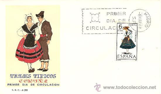 1º DIA DE EMISION TRAJES TIPICOS 1968 (1841) S.F.C.-A.280 (Sellos - Historia Postal - Sello Español - Sobres Primer Día y Matasellos Especiales)