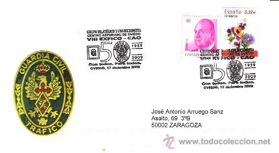 ESPAÑA. MATASELLOS ESPECIAL. 50 ANIVERSARIO DE LA GUARDIA CIVIL DE TRAFICO. OVIEDO 2009 (Sellos - Historia Postal - Sello Español - Sobres Primer Día y Matasellos Especiales)