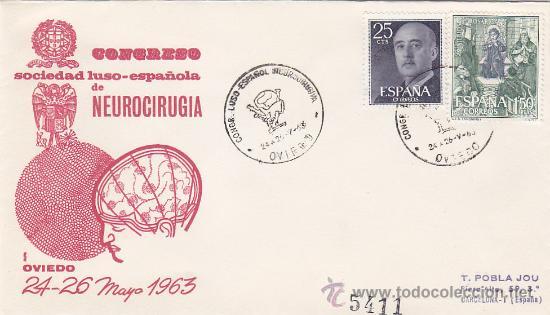 MEDICINA NEUROCIRUGIA CONGRESO LUSO-ESPAÑOL, OVIEDO (ASTURIAS) 1963 MATASELLOS SOBRE CIRCULADO ALFIL (Sellos - Historia Postal - Sello Español - Sobres Primer Día y Matasellos Especiales)