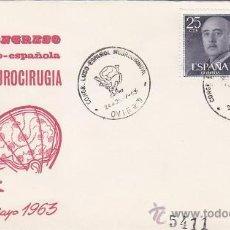 Sellos: MEDICINA NEUROCIRUGIA CONGRESO LUSO-ESPAÑOL, OVIEDO (ASTURIAS) 1963 MATASELLOS SOBRE CIRCULADO ALFIL. Lote 18863540