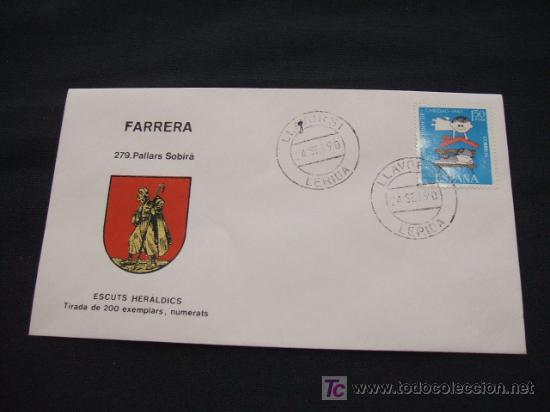 ESCUTS HERALDICS - FARRERA - PALLARS SOBIRÀ - (Sellos - Historia Postal - Sello Español - Sobres Primer Día y Matasellos Especiales)