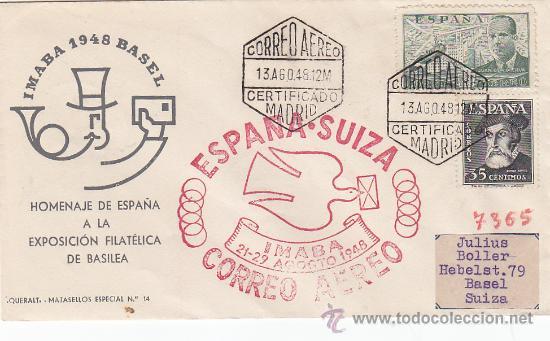 MARCA AEREA ESPAÑA-SUIZA IMABA CORREO AEREO 1948 EN SOBRE DE QUERALT A BASILEA. LLEGADA. (Sellos - Historia Postal - Sello Español - Sobres Primer Día y Matasellos Especiales)