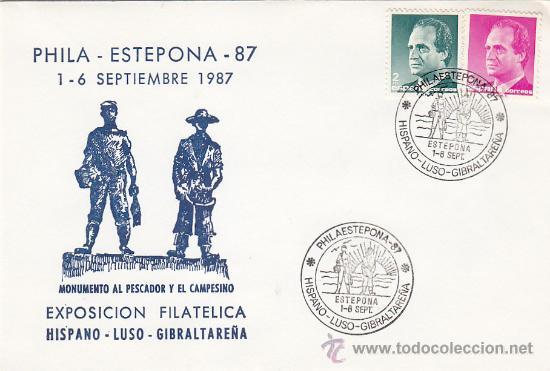 MONUMENTO AL PESCADOR Y AL CAMPESINO EXPOSICION, ESTEPONA (MALAGA) 1987. MATASELLOS SOBRE ILUSTRADO. (Sellos - Historia Postal - Sello Español - Sobres Primer Día y Matasellos Especiales)