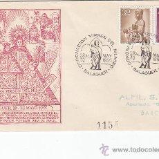 Sellos: RELIGION CORONACION VIRGEN DEL MILAGRO, BALAGUER (LERIDA) 1955 RARO MATASELLOS SOBRE CIRCULADO ALFIL. Lote 21437942